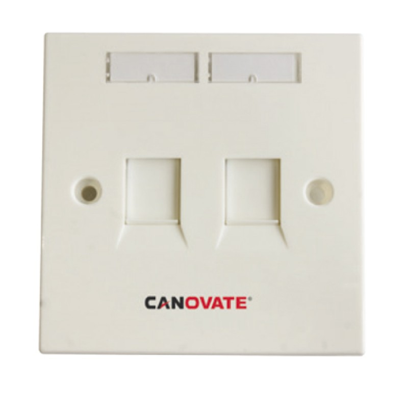 2 Port Cat-6 FTP wall outlet with modules and face...