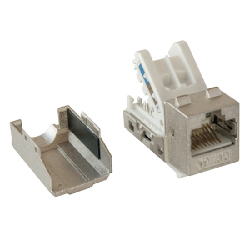Cat-6a FTP Keystone jack module, 90 degree