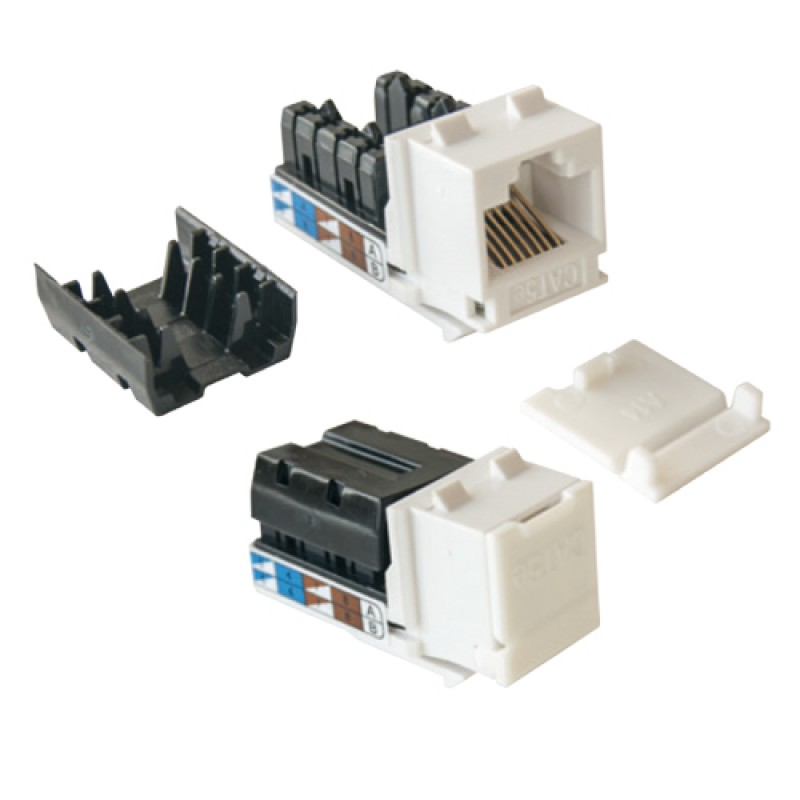 Cat-5e UTP Keystone jack module, (White),90 degree