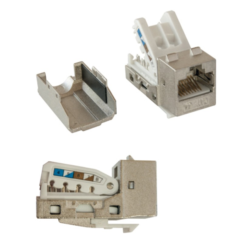 Cat-6a FTP Toolless Keystone jack module, (Metalli...