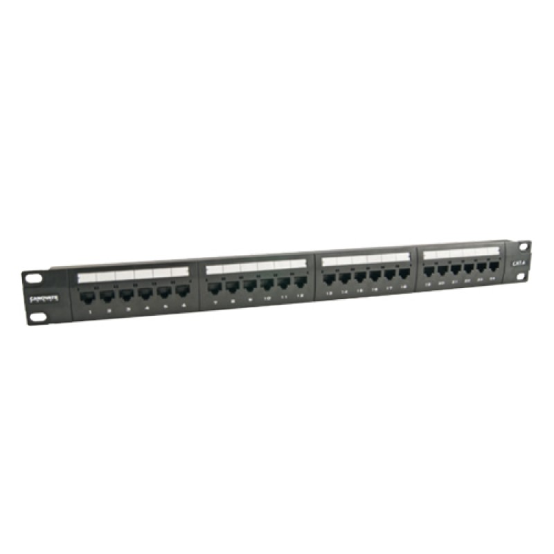 24 Port Cat-6 UTP Patch Panel, 1U 19'', loaded, (B...