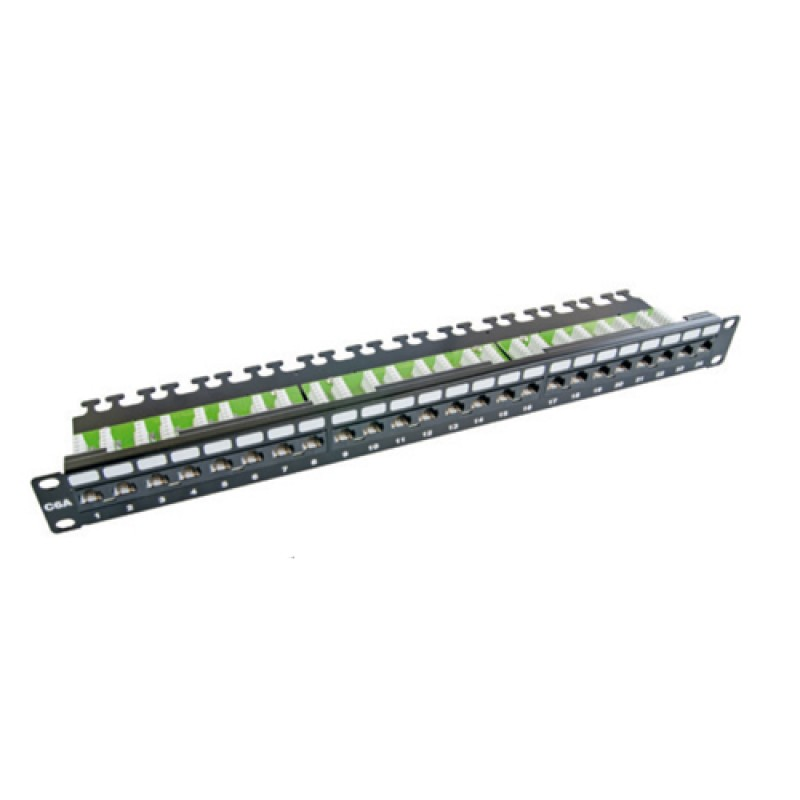 24 Port Cat-6A UTP Patch Panel, 1U 19'', loaded, (...