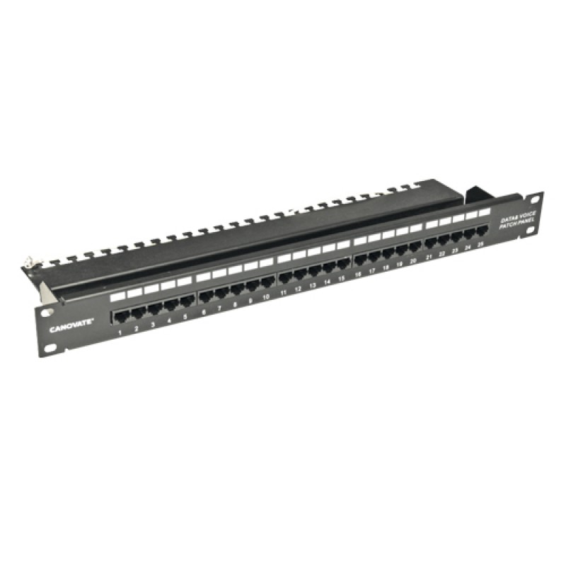 25 Port Cat.3 Telephone Patch Panel, 1U 19'', (Bla...